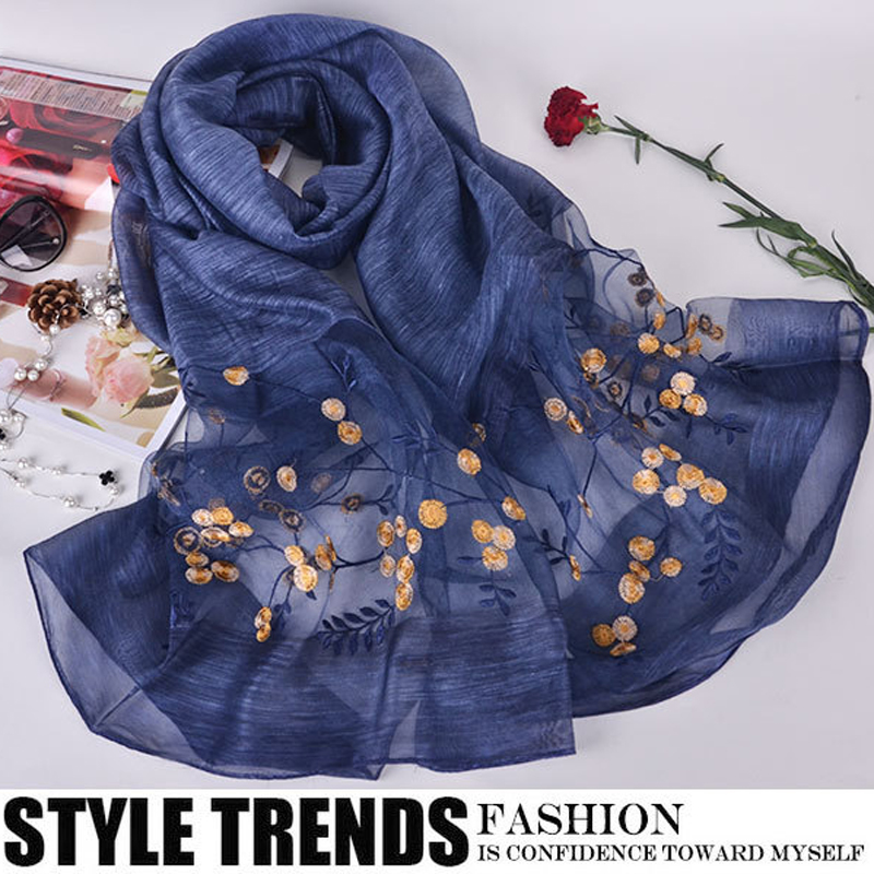 2019 Luxury Brand Women   Scarf   High Quality Silk   Scarves   Shawl Lady Soft Wool Pashmina Elegant Embroidery   Scarf     Wrap   Winter