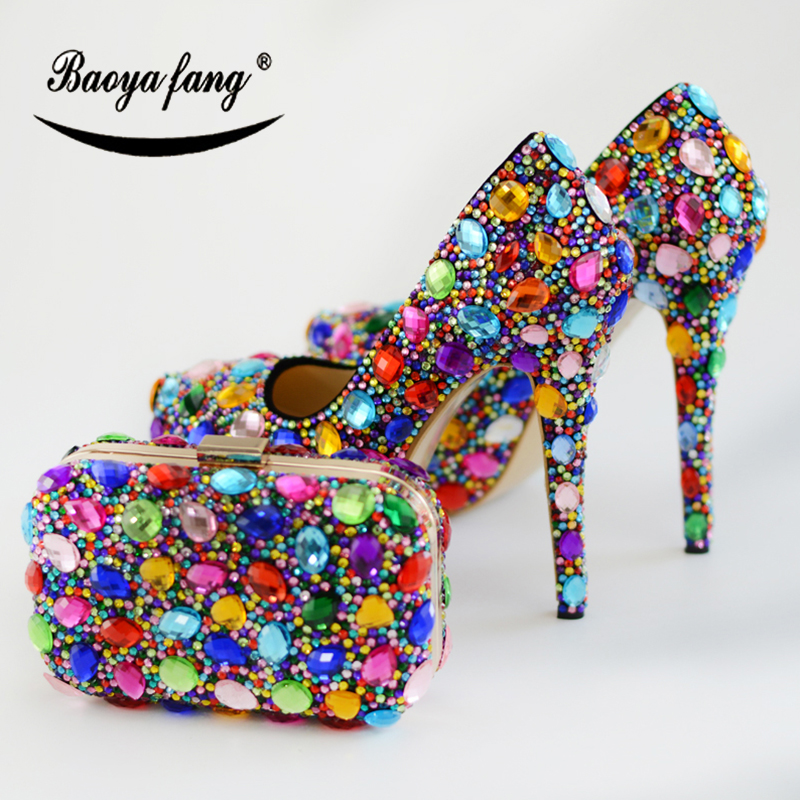 BaoYaFang Multicolor crystal women wedding shoes with matching bags High shoes Thin heel platform shoes and purse setBaoYaFang Multicolor crystal women wedding shoes with matching bags High shoes Thin heel platform shoes and purse set