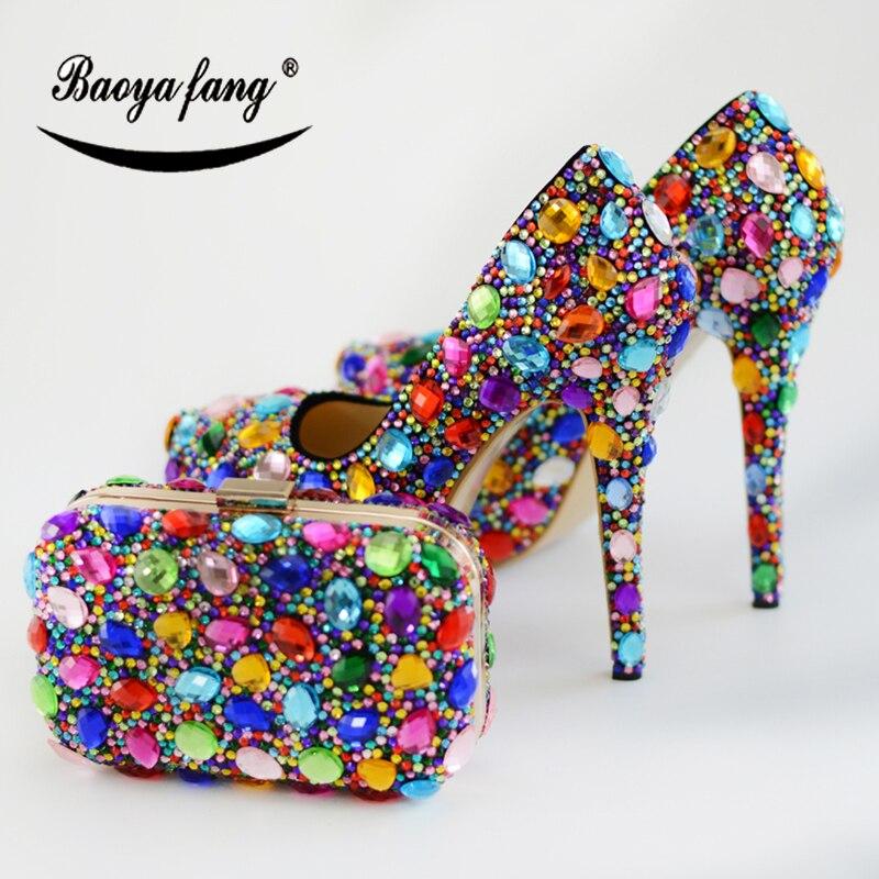 BaoYaFang Multicolore di cristallo scarpe da sposa le donne con i sacchetti di corrispondenza di Alta scarpe tacco Sottile piattaforma di scarpe e set borsaBaoYaFang Multicolore di cristallo scarpe da sposa le donne con i sacchetti di corrispondenza di Alta scarpe tacco Sottile piattaforma di scarpe e set borsa