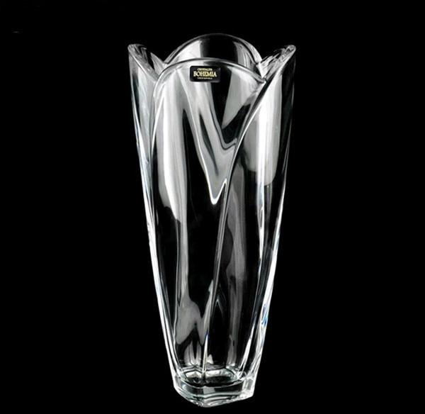 Imported Bohemia Czech Bohemian Crystal Glass Vase Transparent