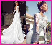 Modest A Line Long Sleeves Satin Lace Bridal Gowns Wedding Dress 2014 Chapel Train W2642