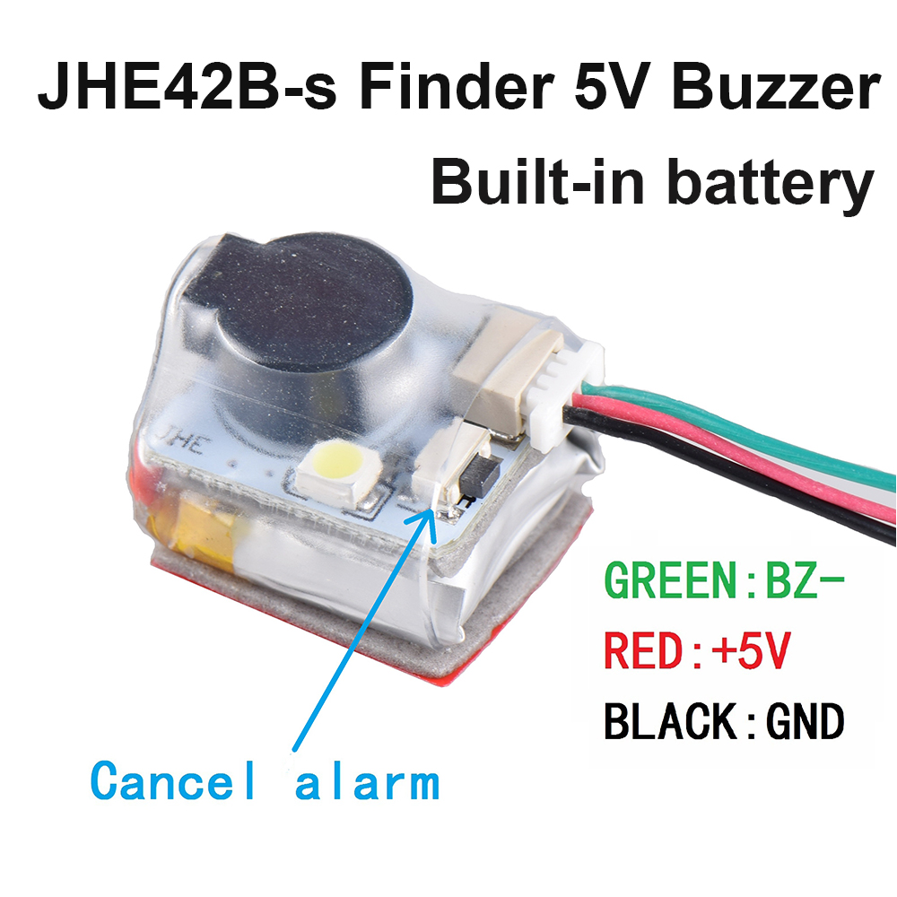 JHE42B-S Finder 5V Super Loud Buzzer Tracker 100dB With LED Buzzer Alarm Built In Battery For RC FPV Drone Flight Controller