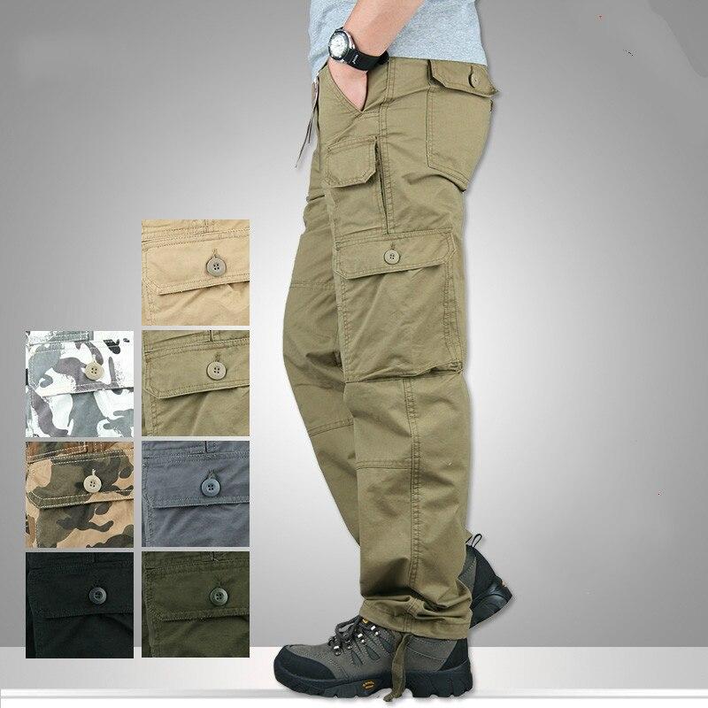 Primavera outono multi bolso militar calças de carga dos homens combate do exército tático calças militares corredores algodão homem 2019