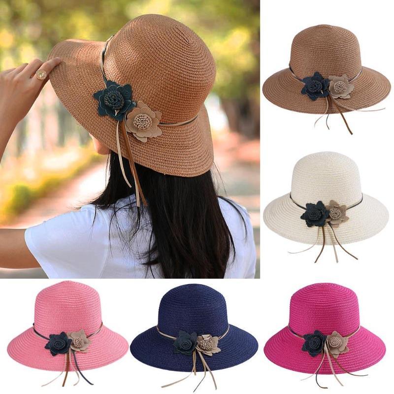 New Summer Women Straw Flowers Sun Hat Fashion Vintage Casual Block Wide Brim Panama Hats Beach Sun Hats Caps for Female Traval