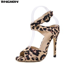 TINGHON Summer Thin heels high-heeled workplace Sexy toe Sandals Leopard grain Elegant Lady Pointed Toe Pumps