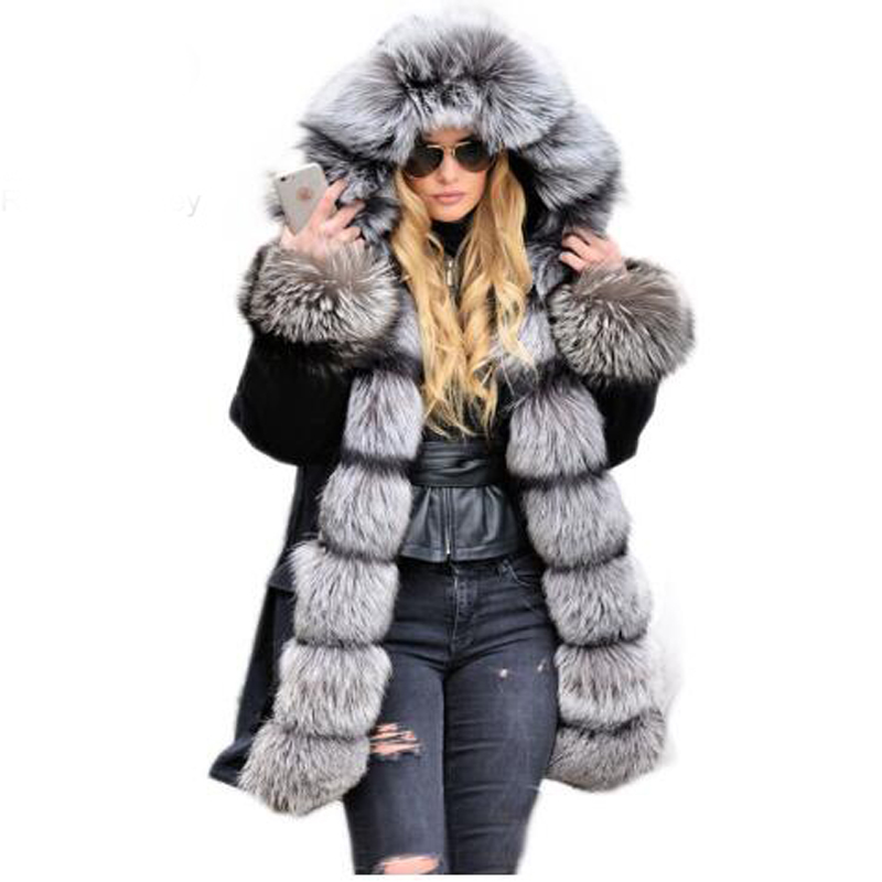 2017 Winter Rex Rabbit Fur Lining With Large Real Fox Fur Collar Cuff Hooded Coat Long Parkas Outwear Winter Jacket 2017 winter new clothes to overcome the coat of women in the long reed rabbit hair fur fur coat fox raccoon fur collar