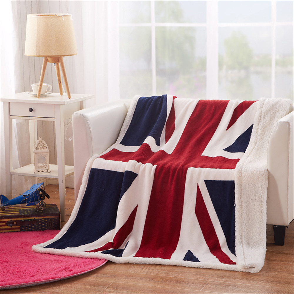 uk flag soft coral blanket manta fleece blanket throws on travel