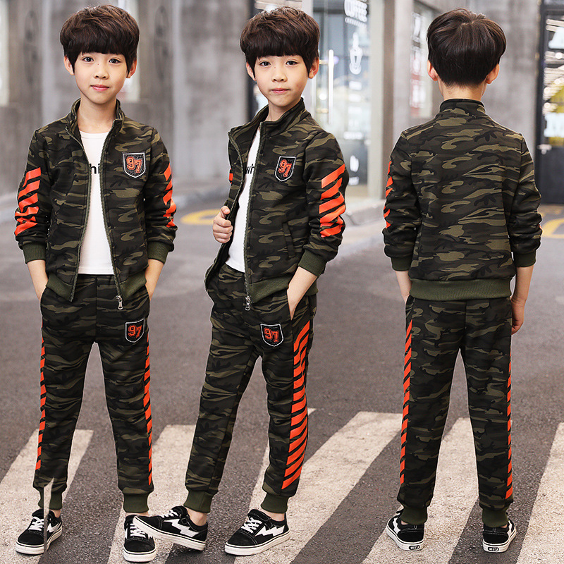 Boys Clothing Set Zipper Sports Printing Fashion Stripes Children Clothes Sets For 2018 Spring Autumn Camouflage Jacket + Pants children s clothing 2017 spring camouflage set teenage boys clothes child spring