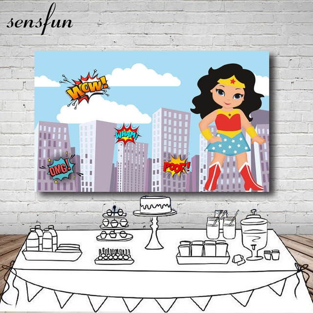 Sky Blue Clouds Building Wonder Women Photography Backdrop Girls Birthday Party Backgrounds For Photo Studio 7x5FT Vinyl
