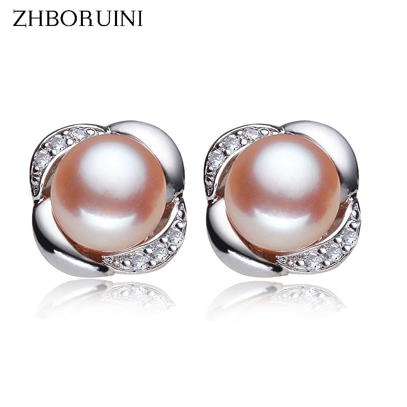 ZHBORUINI 2019 Fashion Pearl Earrings Pearl For Women Jewelry Of Silver Romantic Roses Freshwater Pearl Silver Earrings Jewelry