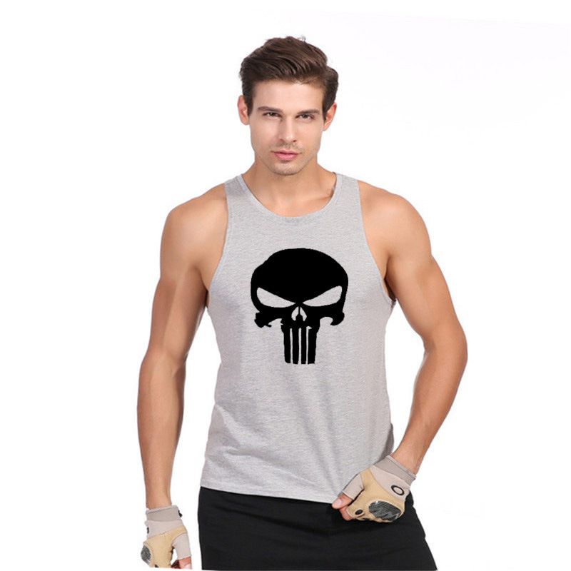 Skull GYMS Tank Top font b Mens b font Bodybuilding Stringer Cotton Vest Fitness Singlet Sleeveless
