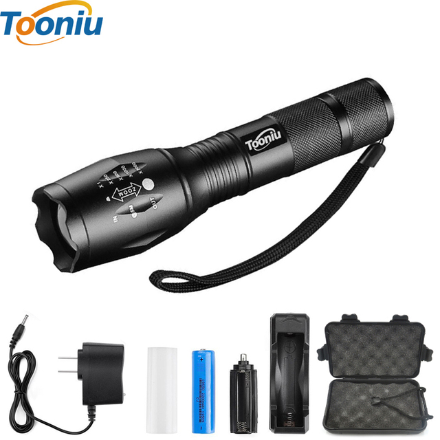 E17 XM-L T6 3800LM Aluminum Waterproof Zoomable CREE LED Flashlight Torch light for 18650 Rechargeable Battery or AAA +Clip
