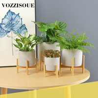 Creative Breathable Combat Drought Cross Bamboo Frame Cement Pots Simple Succulents Green Planting Small Bonsai Home Decoration