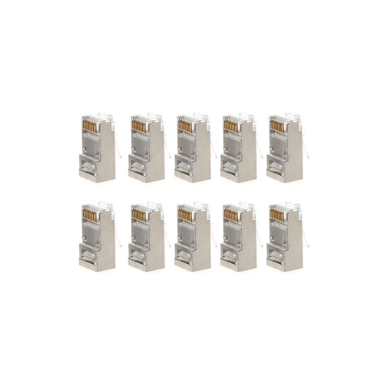 10Pcs Copper Cat6 8-Pin RJ45 8P8C Shielded Stranded Crimp Modular Plug Connector Socket