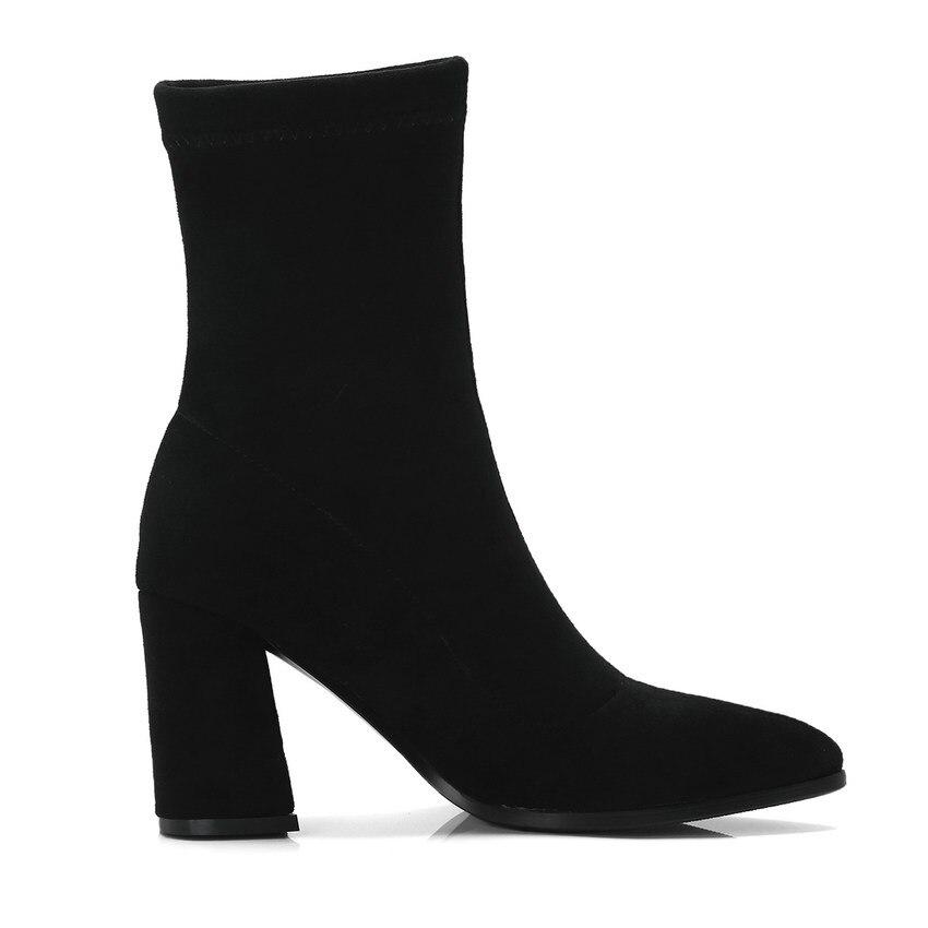QUTAA 2020 Women Boots Sock Boots Knitting All Match Pointed Toe All Match Platform Slip on Women Mid Calf Boots Size 34-42