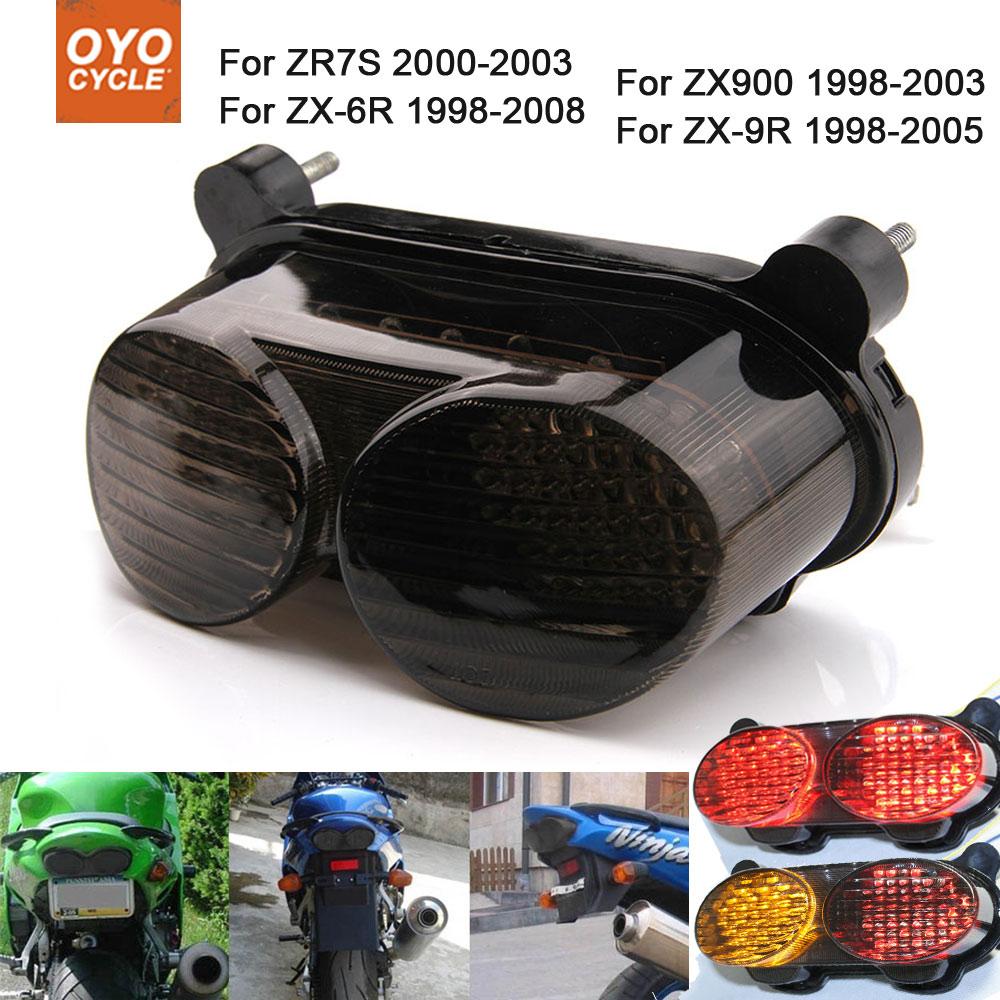Motorcycle Integrated LED Tail Light Brake Turn Signal Blinker For Kawasaki Ninja ZX6R ZX9R ZZR600 ZX900 ZR7S