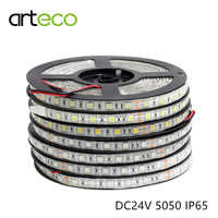 DC24V SMD 5050 tira de luz LED flexible IP65 impermeable 60 leds/m 5 M tira de LED 5050 RGB LED de un solo color de la cinta