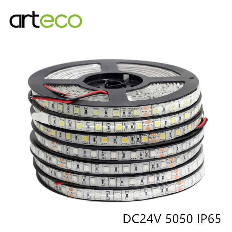 DC24V SMD 5050 LED Strip Flexible Light IP65 Waterproof 60 Leds/m,5M LED Strip 5050 RGB , Single Color LED Tape