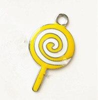 CCOR 53pcs DIY accessory zinc alloy Enamel Lollipop Hang Pendants (just yellow color)DZ0045