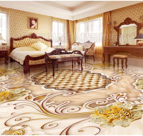 Aliexpress Com Buy European Style 3d Floor Tiles Mural: European Modern Gold Pattern Rose Floor Photo Decoration