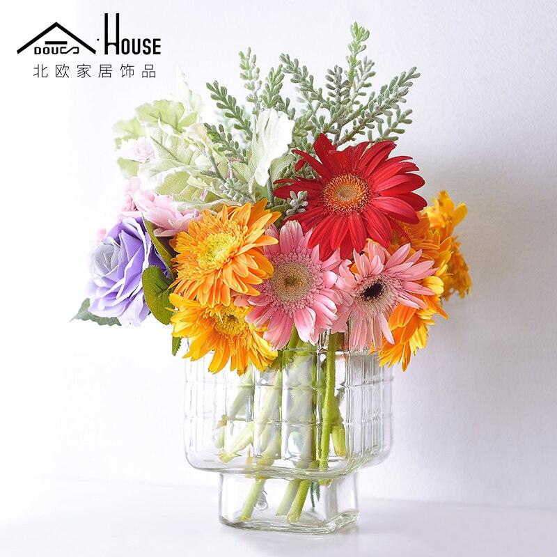 Как Nordic простой небольшой свежий прозрачной стеклянной вазе цветок Цветок гидропоники творческие домашнего интерьера пастырской гостиной...