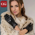 GSG Fashion Sheepskin Black TouchScreen Leather Gloves Winter Glove With Flounce Pleated Wrist Gloves Lace Christmas Gifts