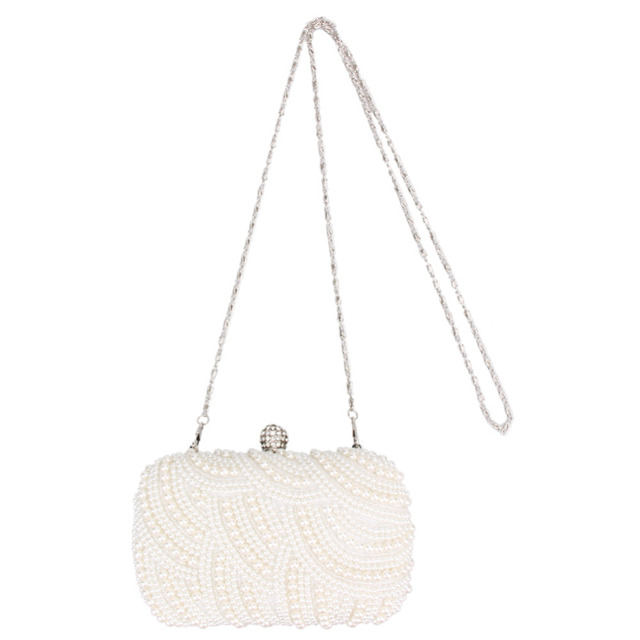 Luxury Elegant Crystal Pearl White Evening Clutch Bags