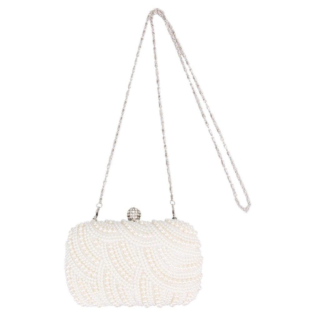 Fashion Luxury Crystal Pearl White Evening Clutch Bags Women Elegant  Minaudiere Handbag Wedding Party Lady Purse a86c72781cdb
