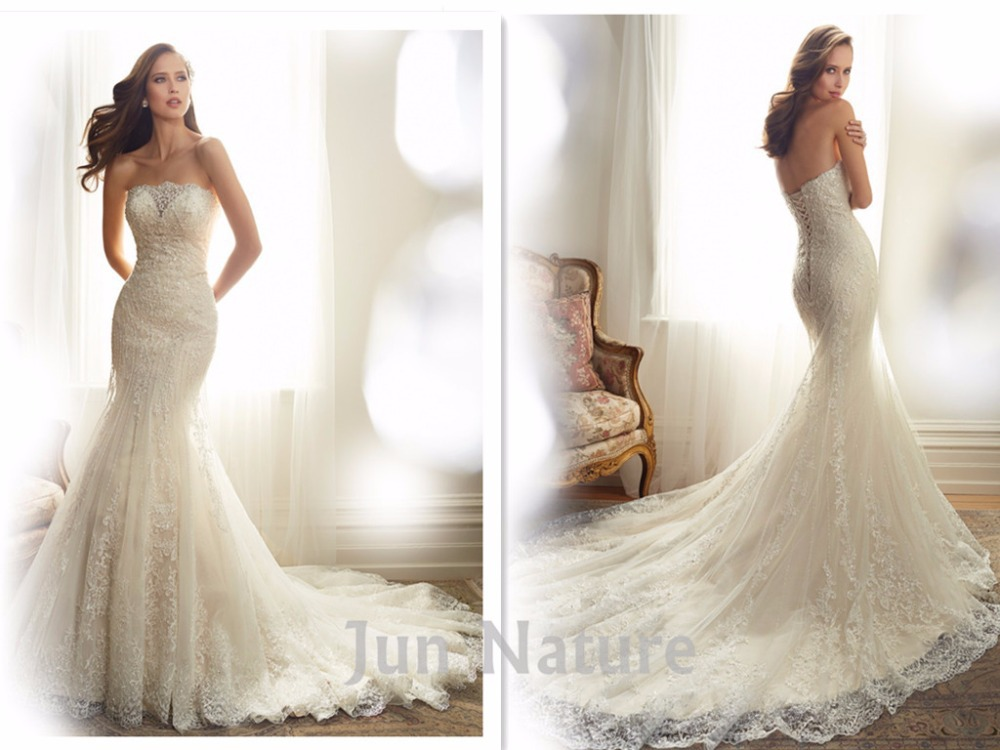 Real picture elegant chapel train strapless lace open back for Strapless wedding dresses with long trains