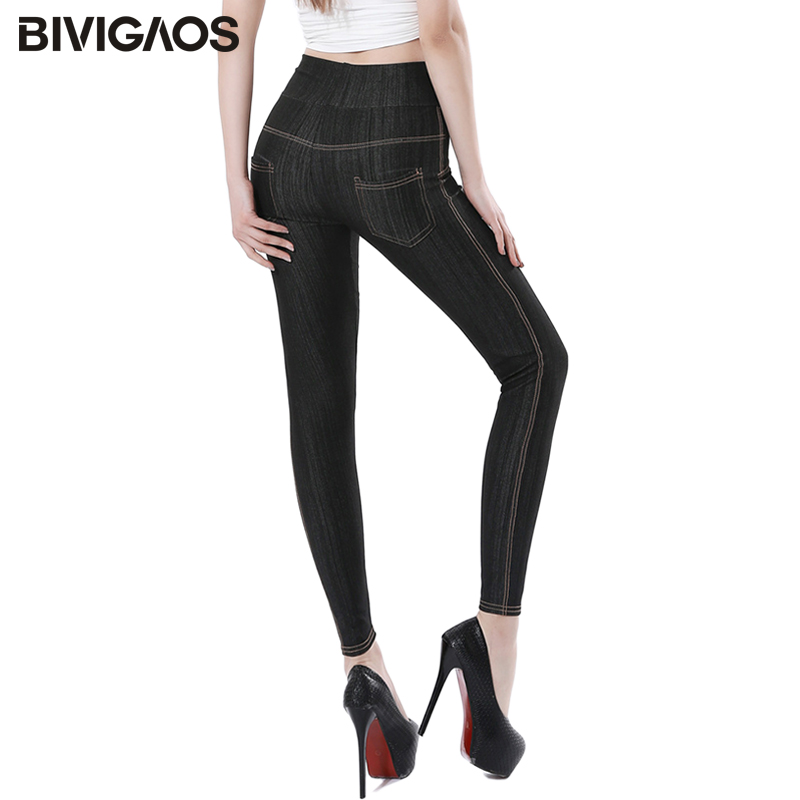 BIVIGAOS New Slubbed Denim Faux Jeans   Leggings   Slim Skinny High Waist Jeggings Elastic   Legging   Pencil Pants For Women Plus Size