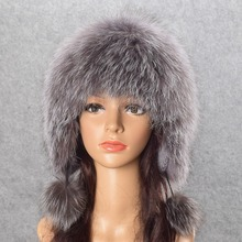 Real Fox Fur Pompom Hats Female Beanies Hat Natural Raccoon Fur Knitted New Skullies Beanies for Women