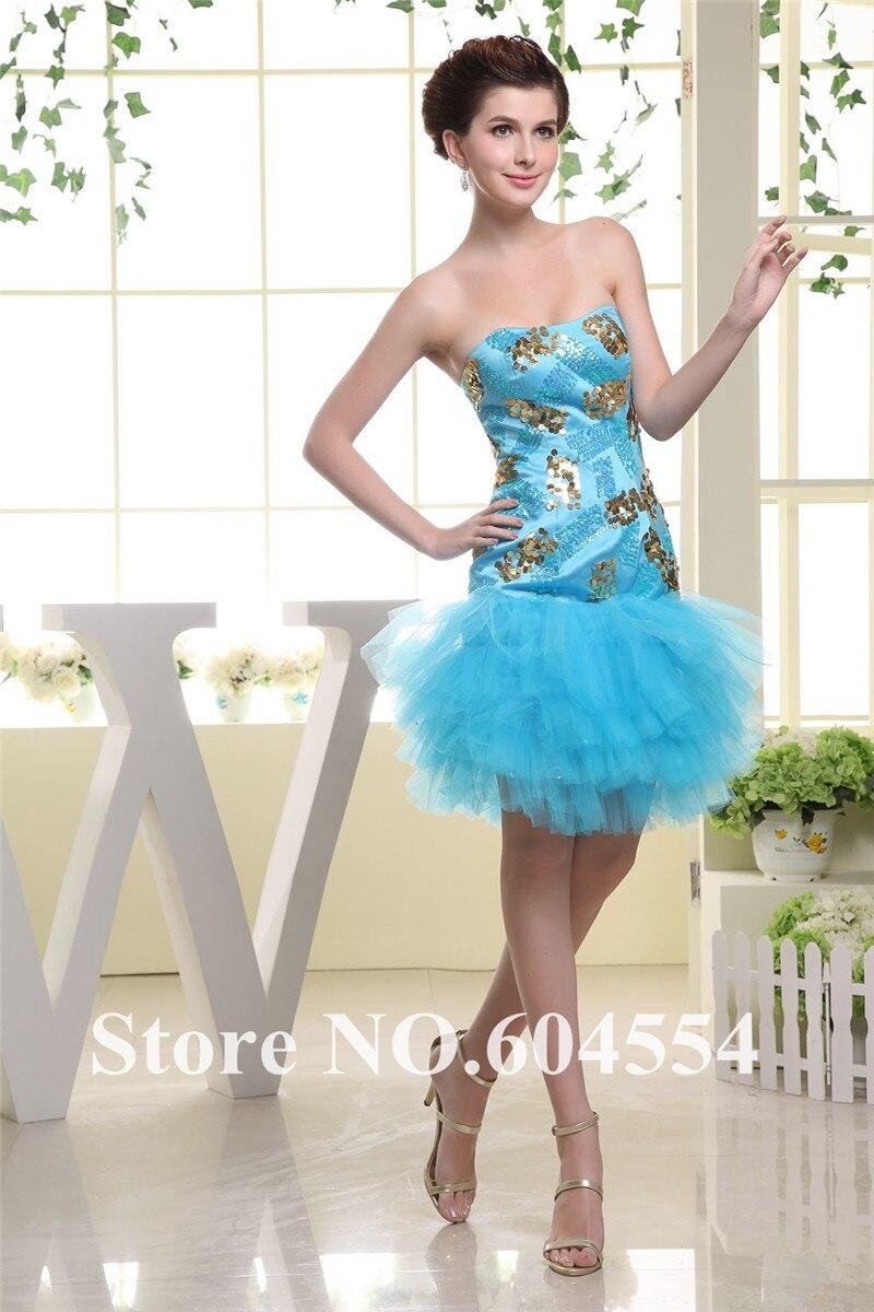 Custom Made Vestidos De Noche azul De Tulle que rebordea el vestido De cóctel co