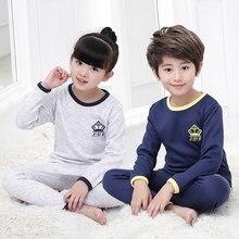 Комплекты одежды для мальчиков и девочек от 4 до 14 лет, вельветовое плотное нижнее белье теплая Пижама осень-зима домашний спортивный костюм