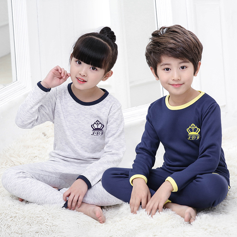 4-14 Years Children Boys Girl Plus Velvet Thick Underwear Clothing Suits Autumn and Winter Warm Pajama Home Tracksuit Sets