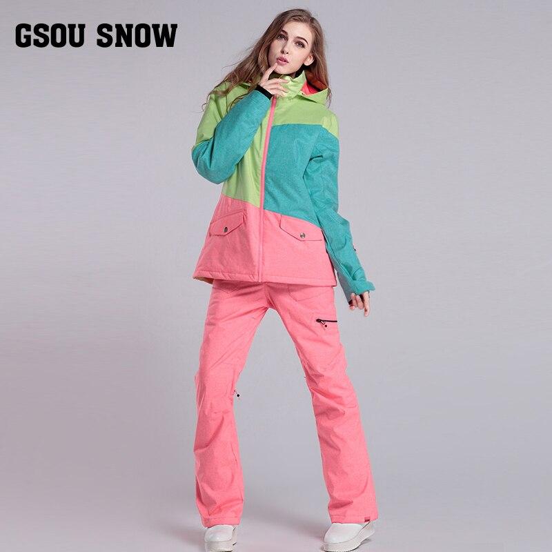 GsousnowPlus taille femmes Ski Ski-wear imperméable randonnée extérieur veste Snowboard veste Ski costume femmes grande taille neige vestes - 4