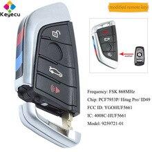 KEYECU CAS4 CAS4 + הותאם מרחוק מפתח עם 4 כפתורים & 868MHz & PCF7953 שבב FOB עבור BMW 5 7 סדרת F מארז FCC: YGOHUF5661