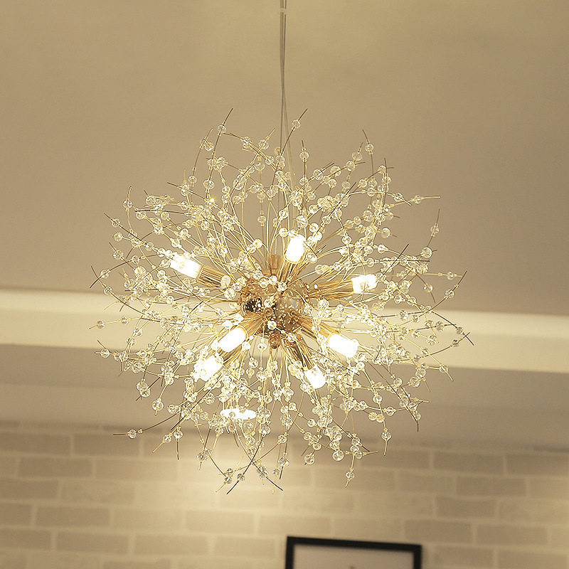LukLoy Dandelion Crystal Chandelier Loft Bedroom Firework Hanging Lamp Hanglamp Modern Pendant Ceiling Lights Lighting Fixture simple modern 20cm led crystal pendant lights fixture pin lamp lighting prizm chandelier sj99 ta10202