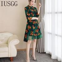 Summer Stand Neck Printed Vintage Silk Cotton A Line Office Ladies Knee Length Dress Women Elegant Clothes Vestidos 2019
