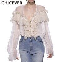 CHICEVER Summer Sexy V Neck Female T Shirt For Women Tops 2017 Chiffon Ruffles Slim Women