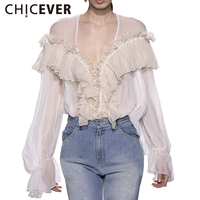 CHICEVER Summer Sexy V Neck Female T Shirt For Women Tops 2017 Chiffon Ruffles Slim Women