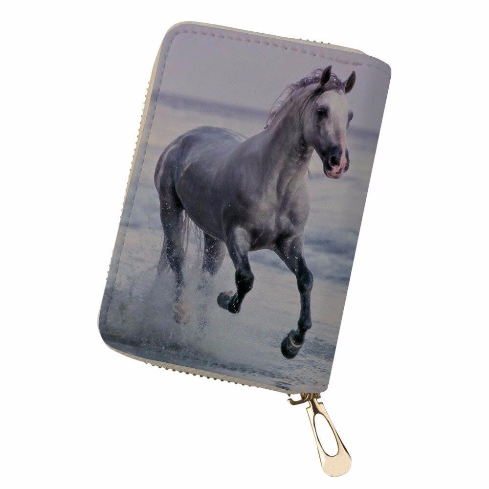 Retro fresh personality horse funny Women Men Credit Business Bank Cards Holder Passport PU Leather pokemon card