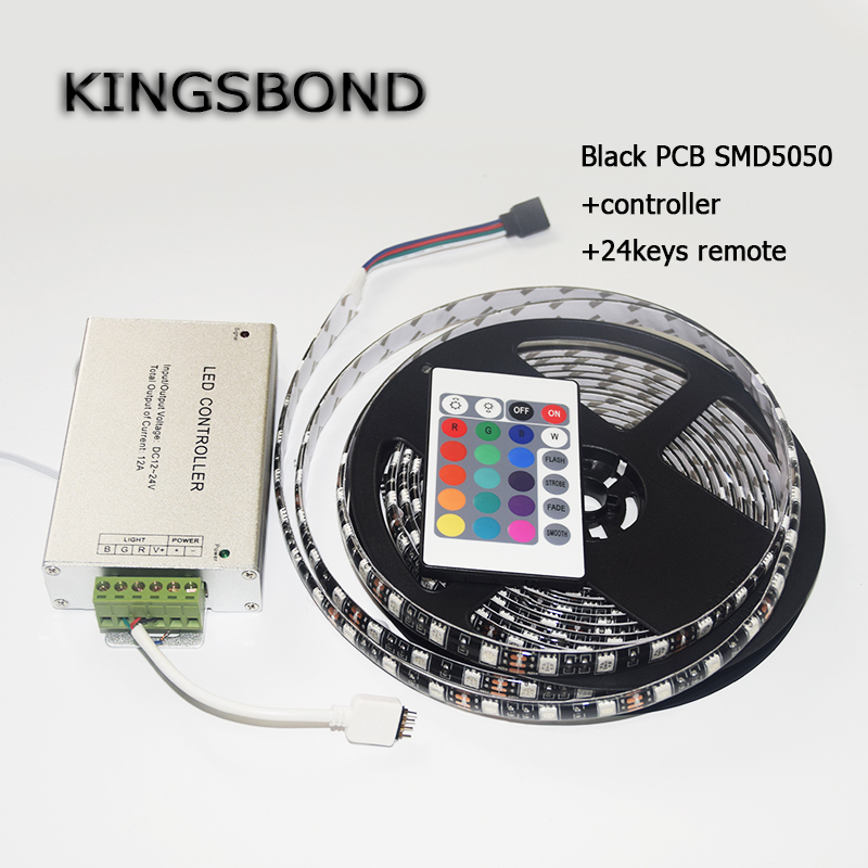 RGB  5050 Black PCB Board  LED Strip DC12V 60LED/M 5M/Roll  Lamp Flexible light  flexible ribbon with 24keys controller led strip 5050 rgb black pcb dc12v flexible led light 60 led m5050 led diode tape rgb led wifi controller with power adapter eu