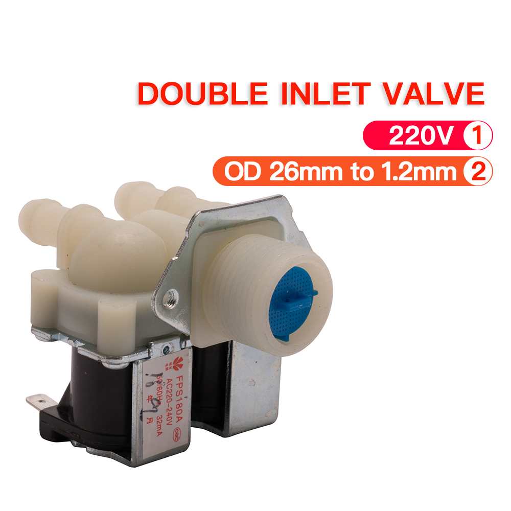 FPS180A AC220V general washing machine double inlet water valve home electrical appliance workmanship washer replacement parts