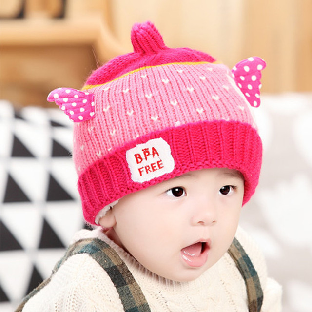 5b7fe18eb78 Children s Winter Warm Wool Hat Kids Cut Knit Cap Hats for Girls Boys Baby  Gifts Cartoon Baby Caps