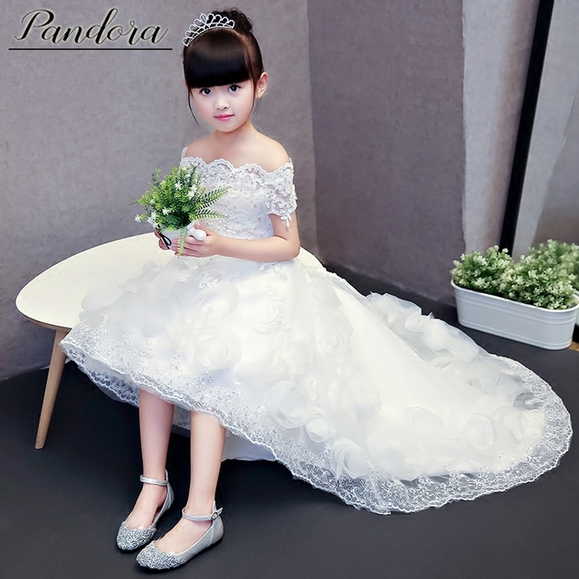 fd6774136 Customized Wedding flower girl dress Princess trailing shoulderless evening  dress Piano performance clothes