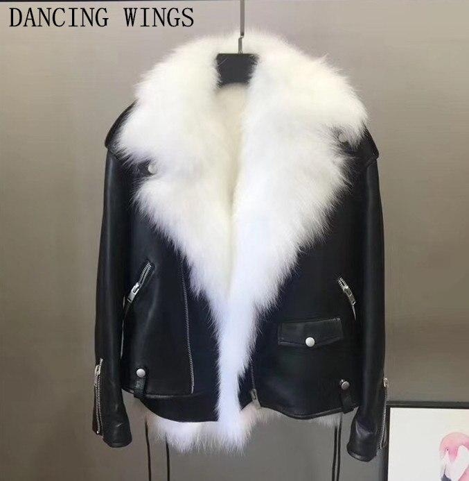 Куртка из натуральной овчины фирменного дизайна, женская зимняя модная куртка с отворотом и подкладкой из натурального меха лисы