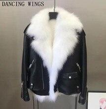 Brand Design Real Fur Sheepskin Jacket Womens Winter Fashion Lapel Real Fox Fur Liner Genuine Leather Locomotive Jacket