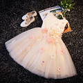 With Sequin Appliques Girl Champagne Christening Wedding Party Pageant Dress Baby ball Gowns Child Bridesmaid Clothing
