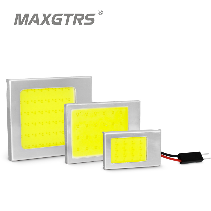 2pcs COB Festoon T10 Kubah Kereta LED Panel Light 24 cip / smd Membaca Kereta Interior Lampu Adapter 12V White Aluminium Shell