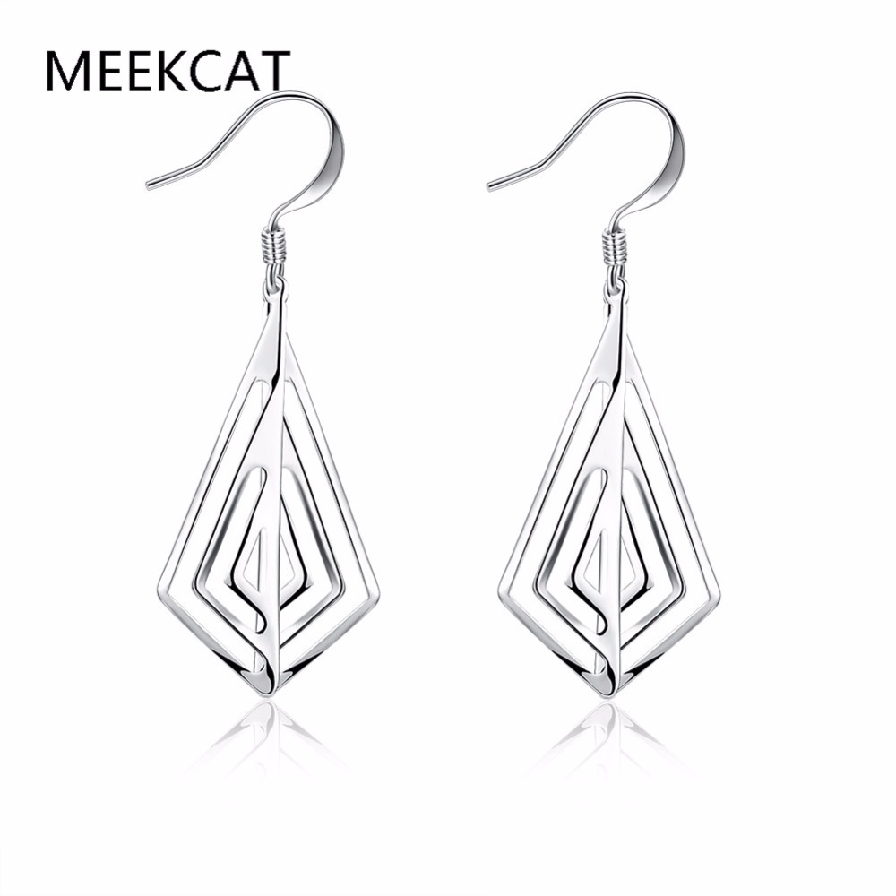 Unique styles drop earrings High quality 925 stamped silver plated Brincos Free Fashion 2017 New Jewelry accessary